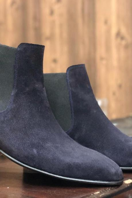 Handmade Ankle High Navy Blue Boots,Chelsea Suede Boot For Men's