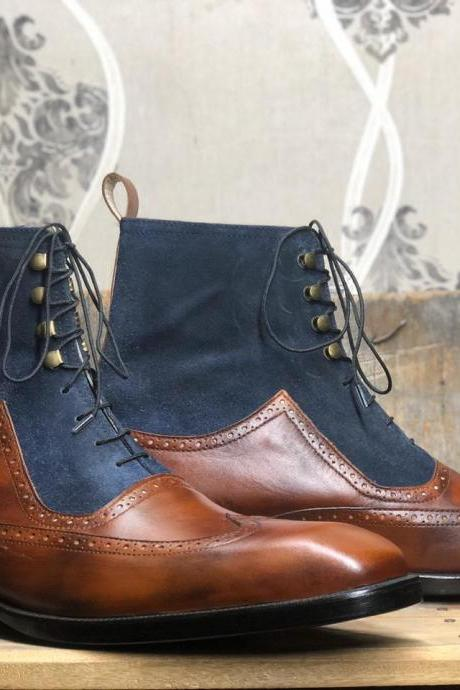 Men's Handmade Ankle High Brown Blue Wing Tip Leather Suede Lace Up Boot
