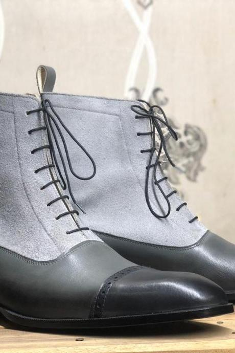 Men's Handmade Ankle High Gray Cap Toe Leather Suede Lace Up Boot