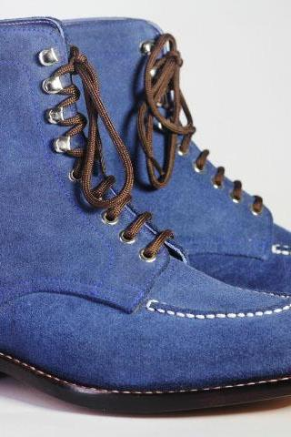 Men's Handmade Ankle High Blue Split Toe Suede Lace Up Boot