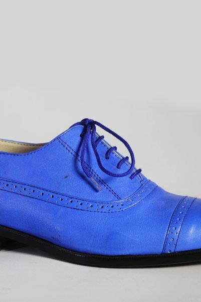 Handmade Stylish Blue Cap Toe Brogue Leather Shoes For Men's