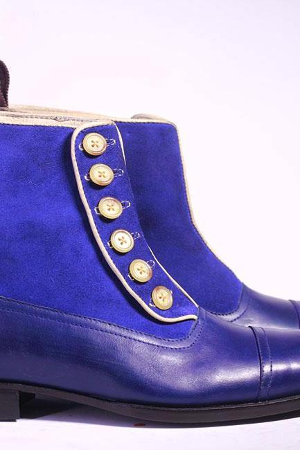 Men's Handmade Ankle High Blue Cap Toe Leather Suede Button Top Boot