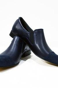 Handmade Navy Blue Leather Suede Cap Toe Loafers Shoes For Men's