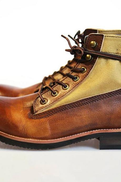 Handmade Men's Ankle High Brown & Tan Leather Lace Up Boots