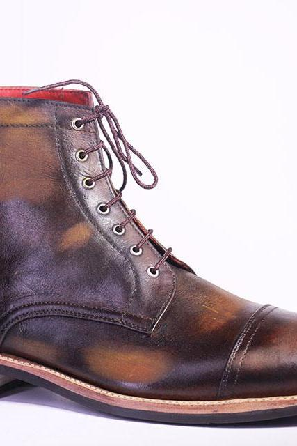 Handmade Cap Toe Boot, Men's 2 Tone Color Cow Leather Ankle High Lace Up Boot
