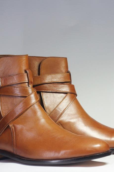 Handmade Men's Ankle High Brown Leather Jodhpurs Boots