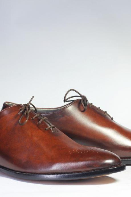 Handmade Brown Brogue Toe Leather Shoes, Men's Lace Up Shoes