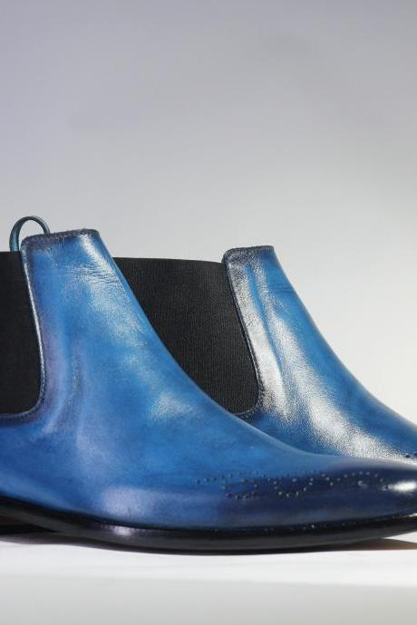 Handmade Men's Blue Brogue Toe Leather Half Ankle Chelsea Boot