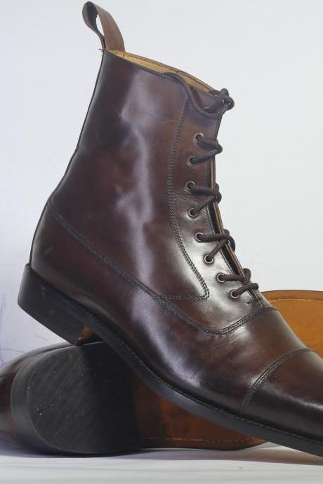 Handmade Men's Ankle Dark Brown Cap Toe Leather Lace Up Boots