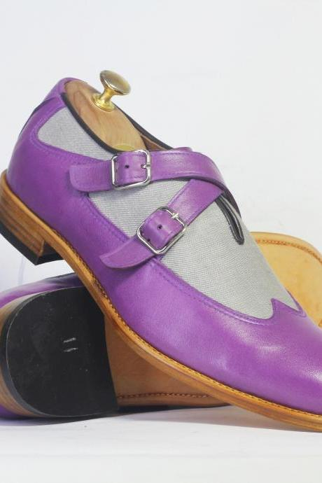 Handmade Purple Wing Tip Leather & Denim Shoes, Men's Buckle Shoes