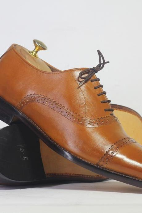 Handmade Tan Cap Toe Brogue Lace Up Leather Men's For Shoes