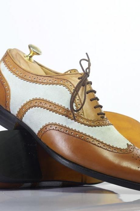 Handmade Brown & White Wing Tip Brogue Lace Up Leather Men's For Shoes