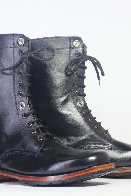 Handmade Ankle High Black Leather Lace Up Boots For Men's