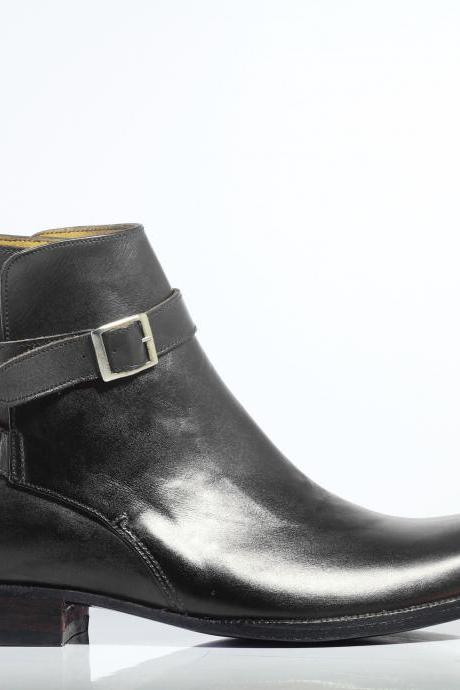 Handmade Men's Ankle Black Leather Jodhpurs Boots