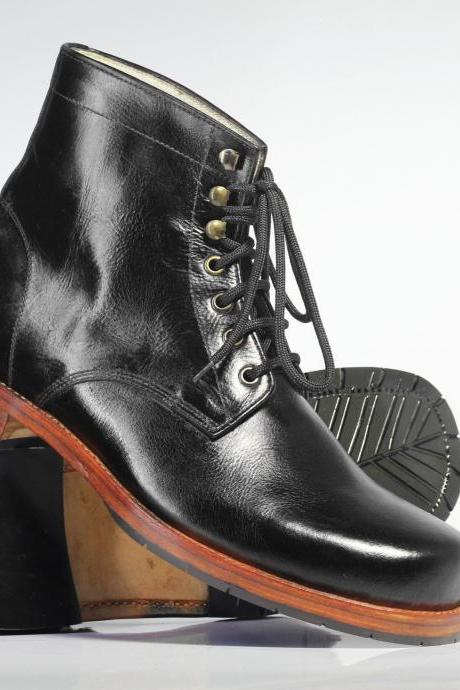 Handmade Ankle High Black Chukka Leather Lace Up Boots For Men's