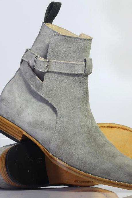 Handmade Men's Gray Color Leather Ankle High Suede Jodhpurs Boot