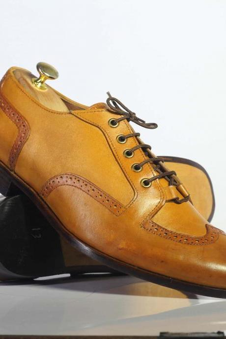 Handmade Tan Wing Tip Lace Up Leather Men's For Shoes