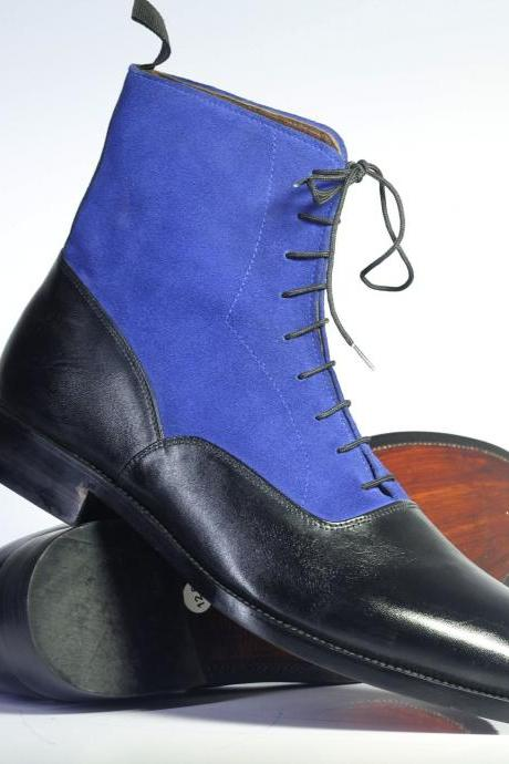 Handmade Men's Ankle high Navy Blue & Blue Leather & Suede Lace Up Boots