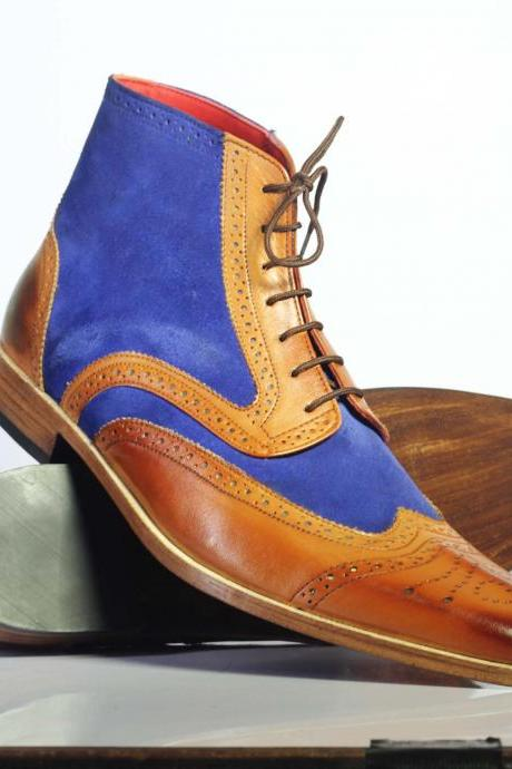 Handmade Men's Ankle high Blue Brown Leather & Suede Lace Up Boots
