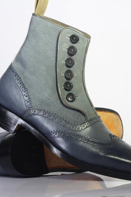 Handmade Men's Ankle high Gray Wing Tip Leather & Suede Button Top Boots