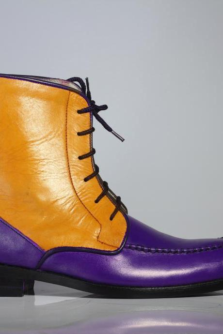 Handmade Ankle High Purple & Tan Split Toe Leather Lace Up Boots For Men's