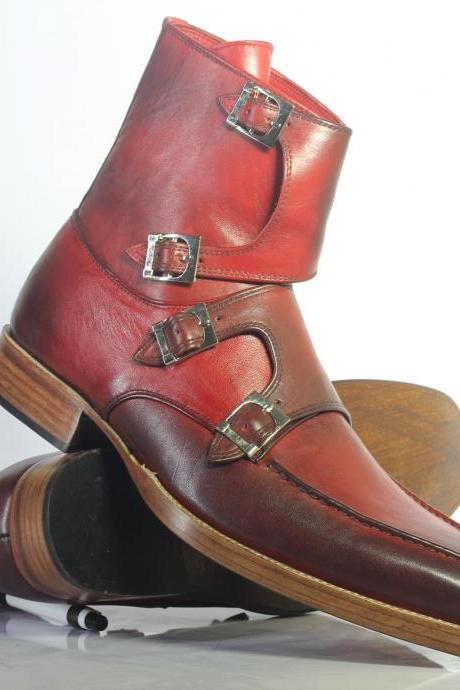 Handmade Ankle High Burgundy Forth Monk Straps Leather Boots For Men's