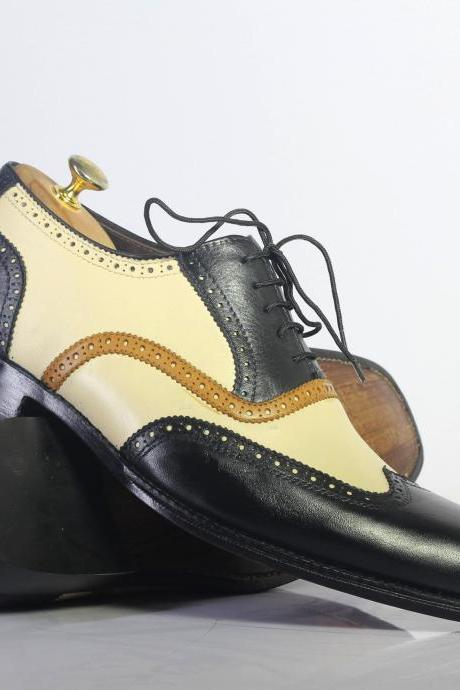 Handmade Multi Color Wing Tip Lace Up Leather Men's For Shoes