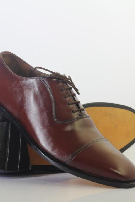 Handmade Burgundy Cap Toe Lace Up Leather Men's For Shoes