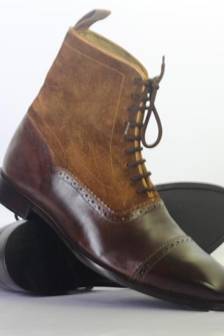 Handmade Ankle High Brown Cap Toe Leather Suede Lace Up Boots For Men's