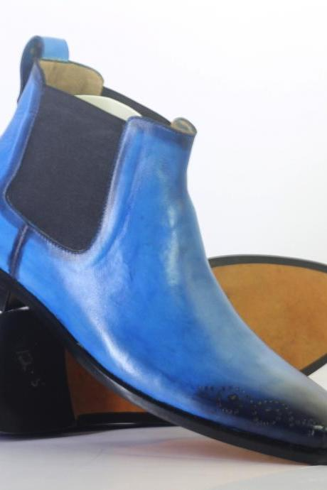Handmade Men's Ankle High Blue Brogue Toe Chelsea Leather Boot