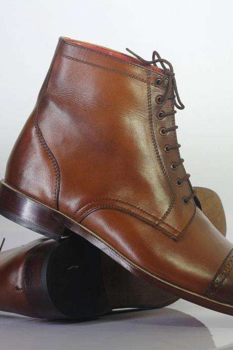 Handmade Ankle High Brown Cap Toe Leather Lace Up Boots For Men's