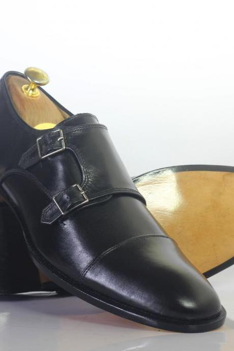 Handmade Men's Black Cap Toe Double Monk Leather Shoes For Men's