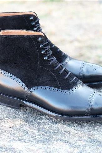 Handmade Ankle High Black Cap Toe Brogue Leather Suede Lace Up Boots For Men's