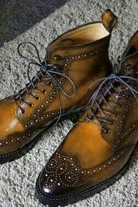 Handmade Ankle High Brown Wing Tip Brogue Leather Lace Up Boots For Men's