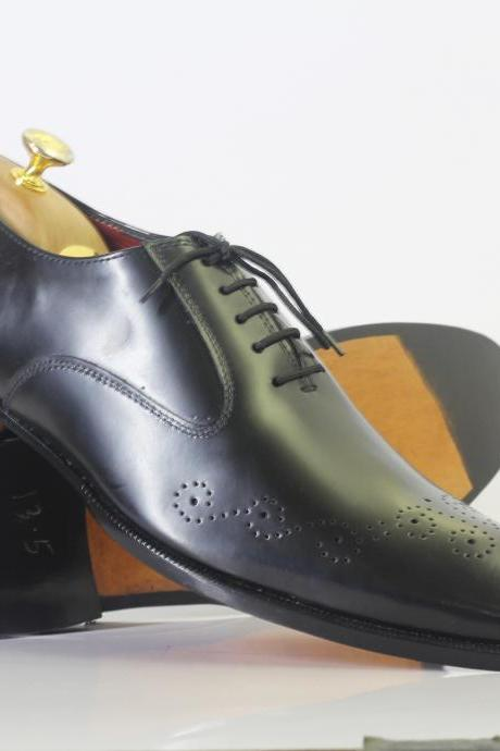 Handmade Black Brogue Toe Lace Up Leather Men's For Shoes