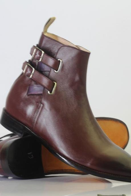 Handmade Men's Ankle High Burgundy Double Buckle Leather Boots