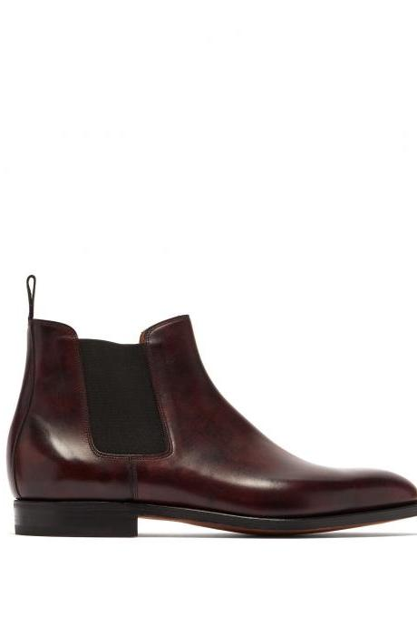 Handmade Men's Ankle High Burgundy Chelsea Leather Boot