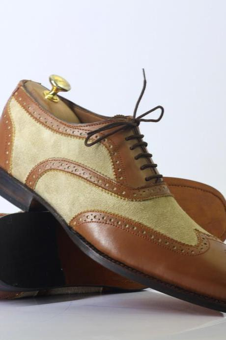 Handmade Brown & Beige Wing Tip Brogue Leather Lace Up Shoes For Men's