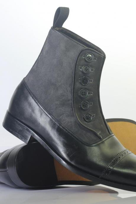 Handmade Ankle High Black Gray Button Top Leather Suede Boot For Men's