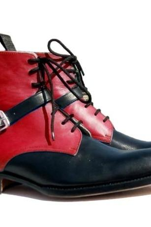 Handmade Red & Black Boot, Men's Leather Ankle High Boot Lace Up With Monk Straps Boot