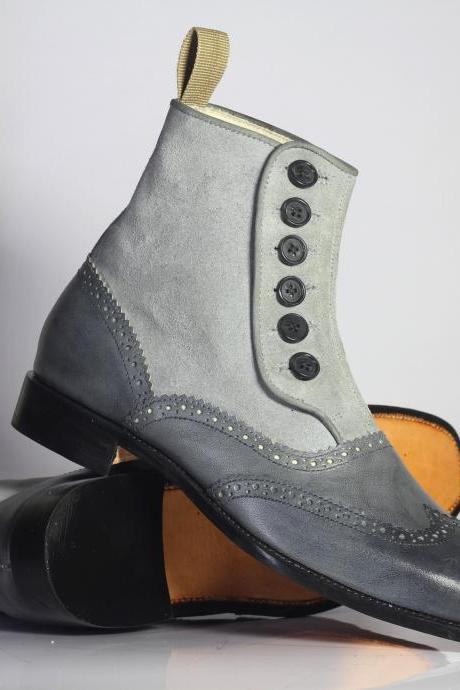 Handmade Ankle Button Top Gray Wing Tip Boots,Suede Leather Boots For Men's