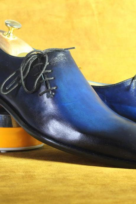 New Handmade Goodyear Welted Shoes Formal Blue Tuxedo Shoes Oxfords Shoes