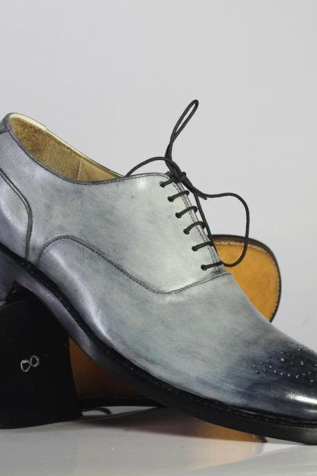 Men's Handmade Silver Brogue Leather Lace Up Shoes