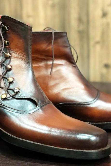 Handmade Men's Ankle High Brown Bespoke Leather Lace Up Boots