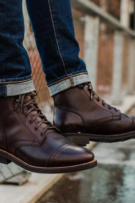 Handmade Cap Toe Boot, Men's Brown Color Cow Leather Ankle High Lace Up Boot