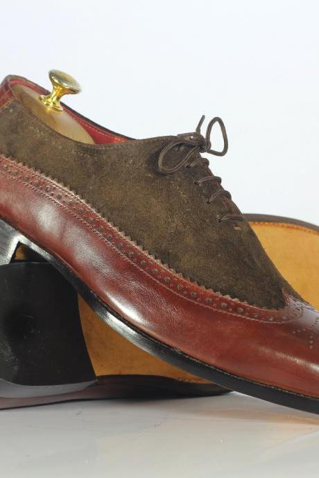 Handmade Brown Leather Suede Shoes, Men's Wing Tip Brogue Shoes