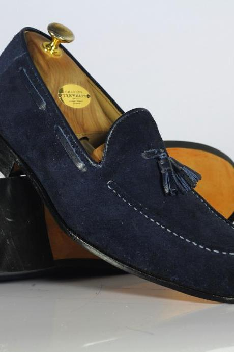 Handmade Blue Tussles Suede Loafers Casual Shoes For Men's