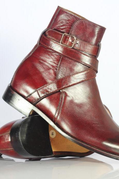 Handmade Men's Ankle Burgundy Leather Jodhpurs Boots