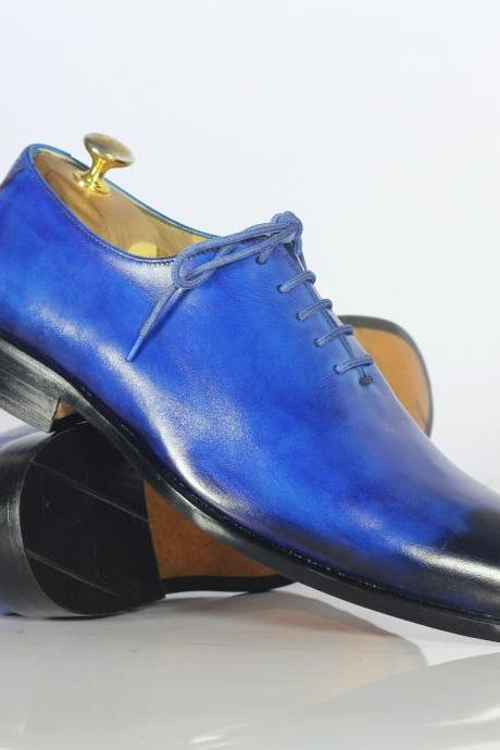 Oxford 2 Tone Blue Derby Real Leather Lace Up Shoes Men Formal Dress Shoes