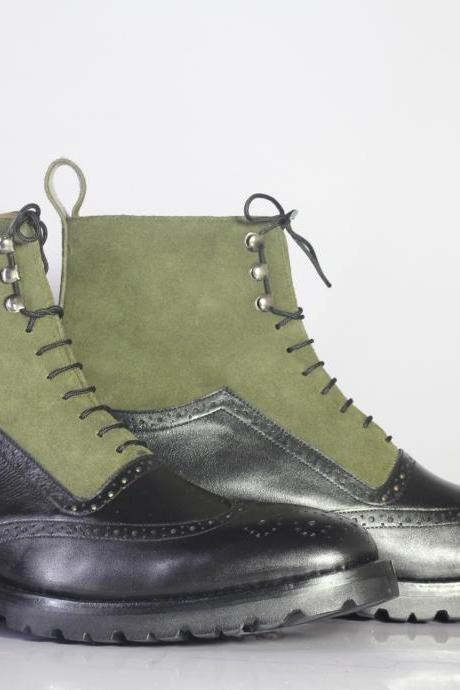 Handmade Men's Olive Green & Black Wing Tip Genuine Leather Suede Boots Lace Up Boot,